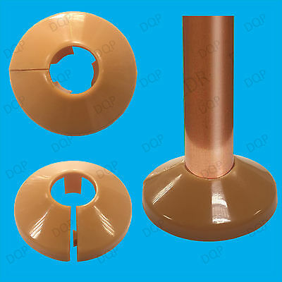 20x Brown Plastic Radiator Pipe Collars, For 15mm Pipes Easy