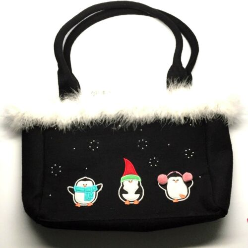 Christmas Purse Black With Festive Penguins Embellished With Beads and Faux Fur