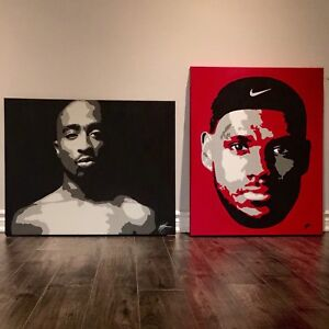 Tupac 2pac and LeBron Paintings