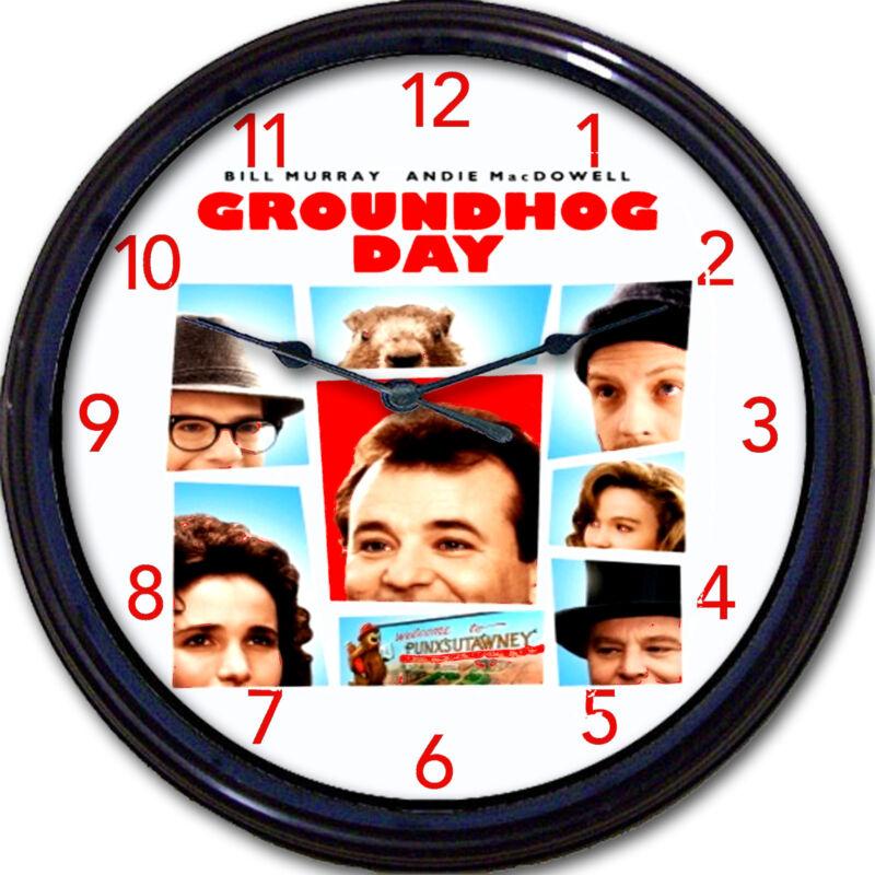 Groundhog Day Bill Murray Movie Wall Clock Andie MacDowell Punxsutawney comedy