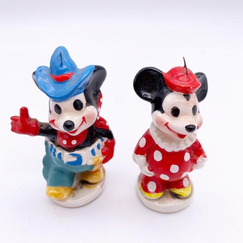 Vtg Mickey Minnie Mouse Clown Ceramic Ornaments 2 Japan Walt Disney Productions