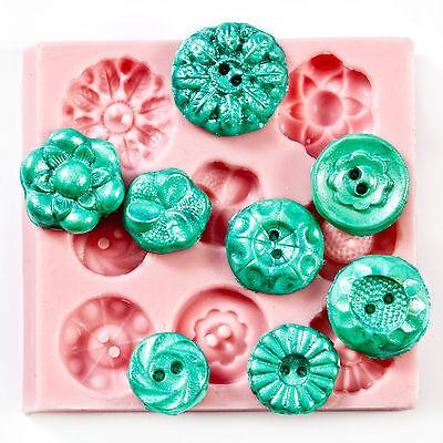Silicone Button Mold - fondant button mold, chocolate mold, clay mold (704) - Button Mold