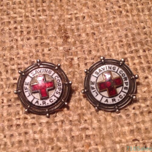 TWO WWI Era Red Cross ARC Life Saving Corps Silver Enamel Pins, Different Makers