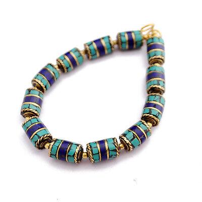 Turquoise Lapis Brass 12 Beads Tibetan Nepalese Handmade Tibet Nepal UB2528