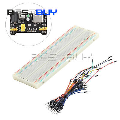Mb-102 830 Point Solderless Pcb Breadboard Power Supply 65x Jump Cable Bcc