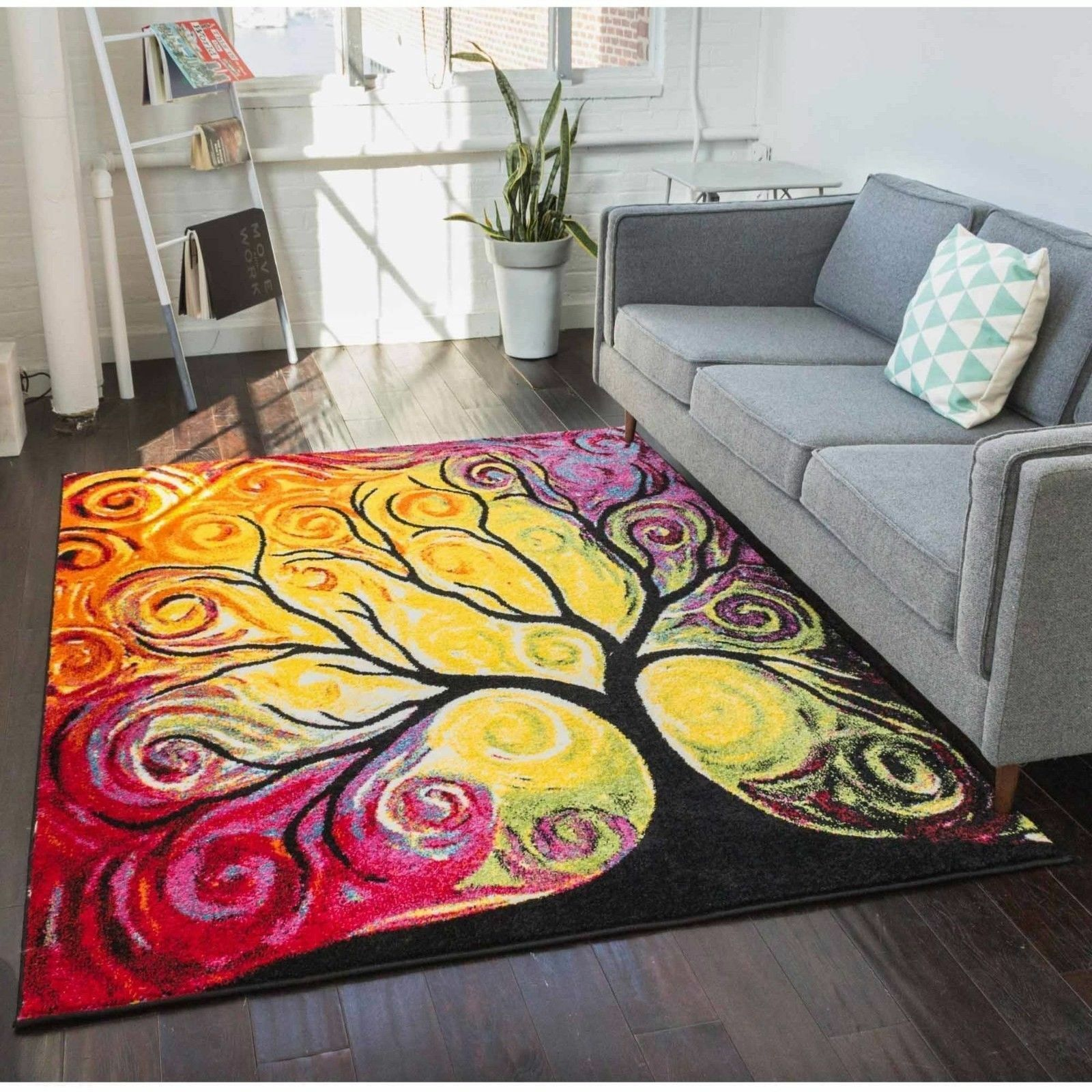 Abstract Area Rug Rainbow Watercolor Artistic Tree Pattern C
