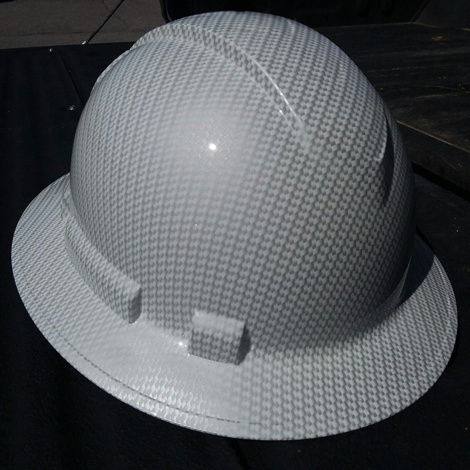 FULL BRIM Hard Hat custom hydro dipped , NEW WHITE CARBON FIBER HOT NEW HYDRO 1