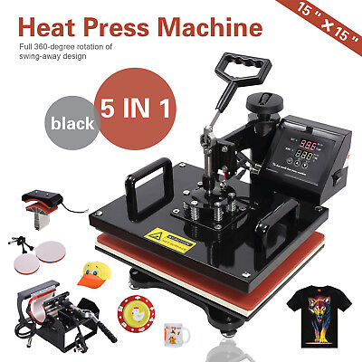 5 In 1 - 15x15 Heat Press Machine Teflon Coated Transfer Sublimation Printing