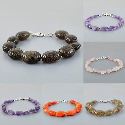 Natural Smoky Quartz Amethyst Rose Quartz Carved Beads Handmade Bracelet