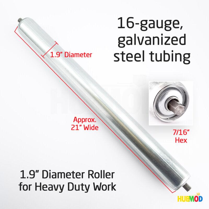 """Uline Replacement Gravity Roller Conveyors 21"""" Wide 1.9"""" Diameter 7/16"""" Hex"""