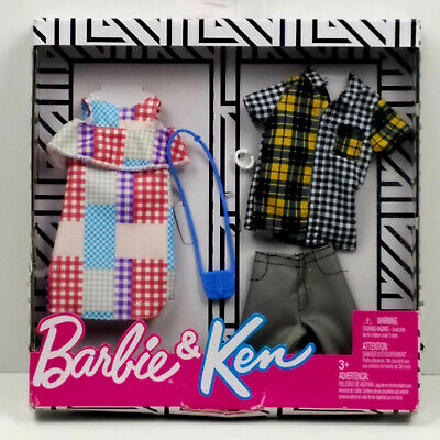 Barbie and Ken Fashion Outfits With Accessories, Flannel Plaid, Shorts, Dress