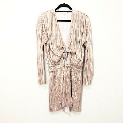 Intropia Womens Sz 44 Metallic Plunge Tie Long Sleeve Blouson Pleated Mini Dress