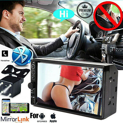 """Bluetooth Car Stereo Radio 2 DIN 7"""" HD MP5 Player Touch Screen With Back Camera"""