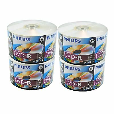 200 PHILIPS 16X Blank DVD-R DVDR Disc 4.7GB Shrink Wrap 2 x 100