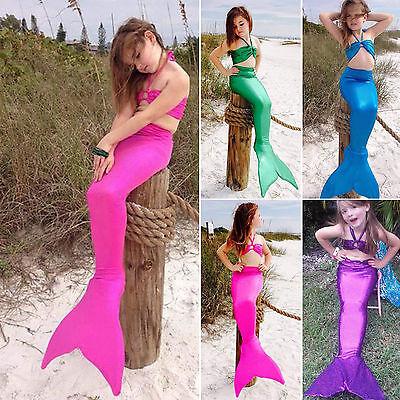 3PCS Baby Girls Kids Mermaid Tail Halter Bikini Set Bathing Suit Fancy Costume - Baby Costumes Girl