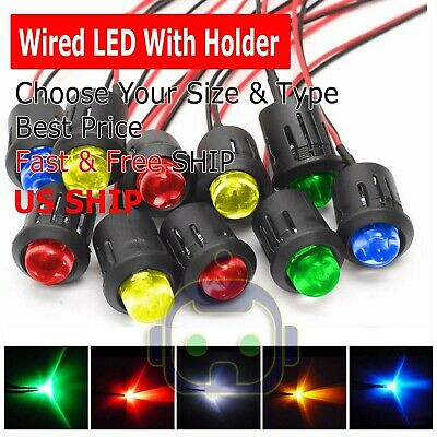 3mm 5mm 8mm 10mm Pre Wired Led Holder Dc9-12v Color Lights Emitting Diodes