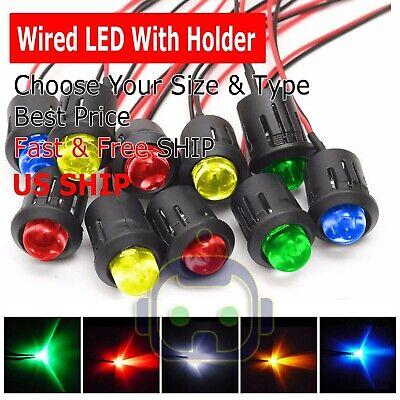 3mm 5mm 8mm 10mm Pre Wired Led Holder Dc9-12v Color Lights Emitting Diodes