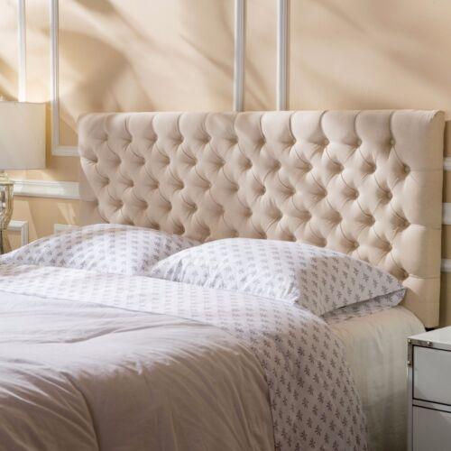 Brunet Contemporary Button Tufted Fabric Queen/Full Headboard Beds & Mattresses