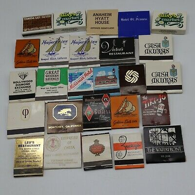 26 Vintage Matchbook Lot - California Restaurant Inn Market Motel Bank Jewelry