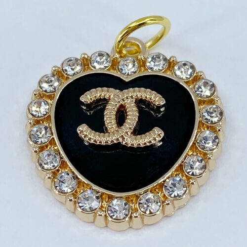 One Authentic CHANEL Button, Stamped Gold Metal 22mm Designer Art Zipper Pull
