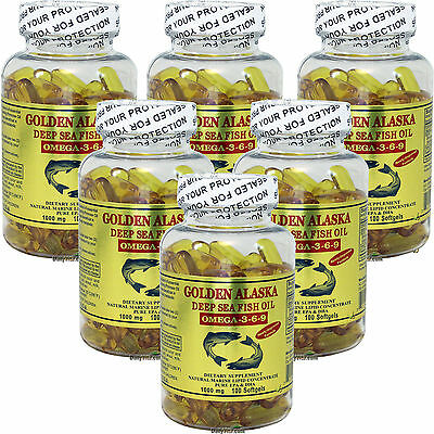 6x Golden Alaska Deep Sea Fish Oil Omega-3-6-9 1000mg 100 SG DHA EPA Made In USA