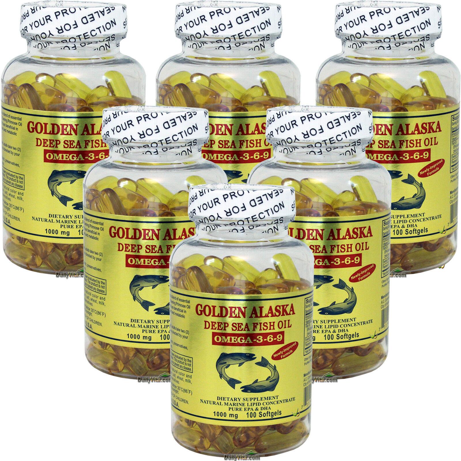 6x Golden Alaska Deep Sea Fish Oil Omega-3-6-9 1000mg 100 SG DHA EPA Made In USA