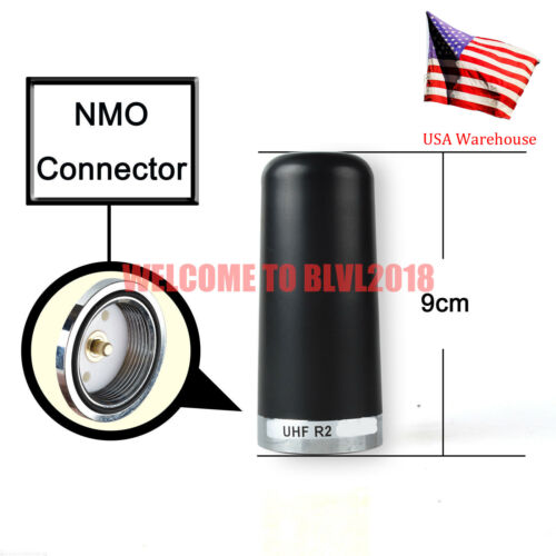Black Stubby Roof UHF R2 450-520 MHz NMO Antenna For Mobile Car Bus Radio
