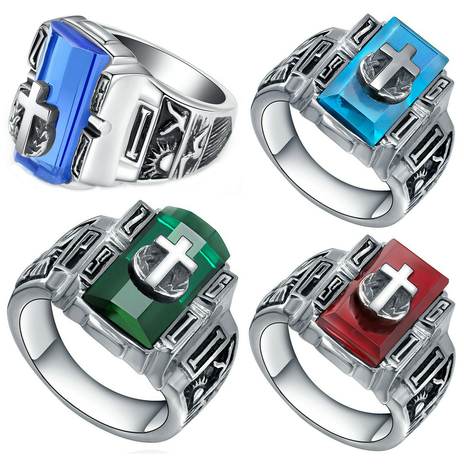 Men's Stainless Steel Vintage Cross on Crystal Ring (Size 6 to 13, US Seller) Jewelry & Watches