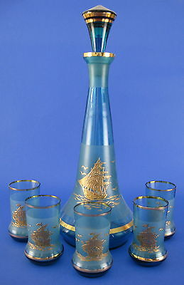 Blue Glass Decanter Set 5 Glasses Frosted Gold Ship Schooner Decoration AS IS