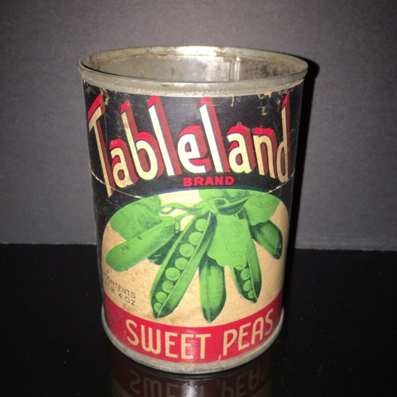 SCARCE Tableland 1920-30s Sweet Pea Paper Label Tin Food Can USA