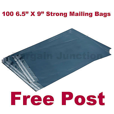100 Strong Grey Plastic Mailing Postal Poly Seal Postage Packing Bags 6.5X9 Inch
