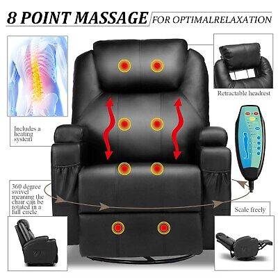 Electric Massage Recliner Chair Heated PU Leather Ergonomic Lounge Swivel Black