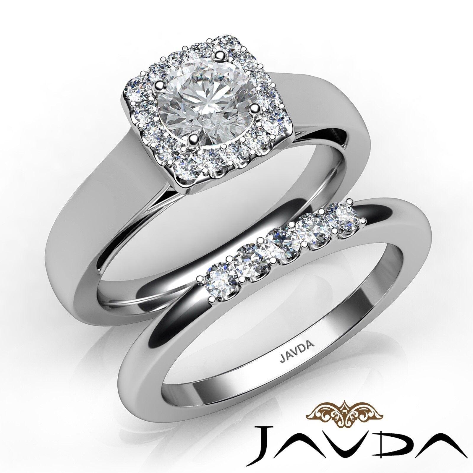 1.15ctw Halo Filigree Bridal Set Round Diamond Engagement Ring GIA G-SI1 W Gold