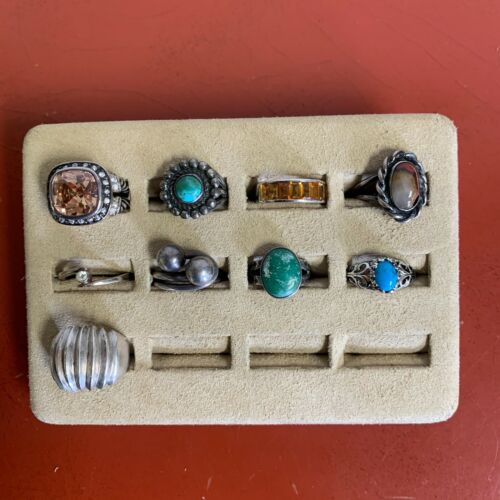 Set Of (9) Sterling Silver Rings Assorted Styles Sizes 7 & UNDER Lot #41`