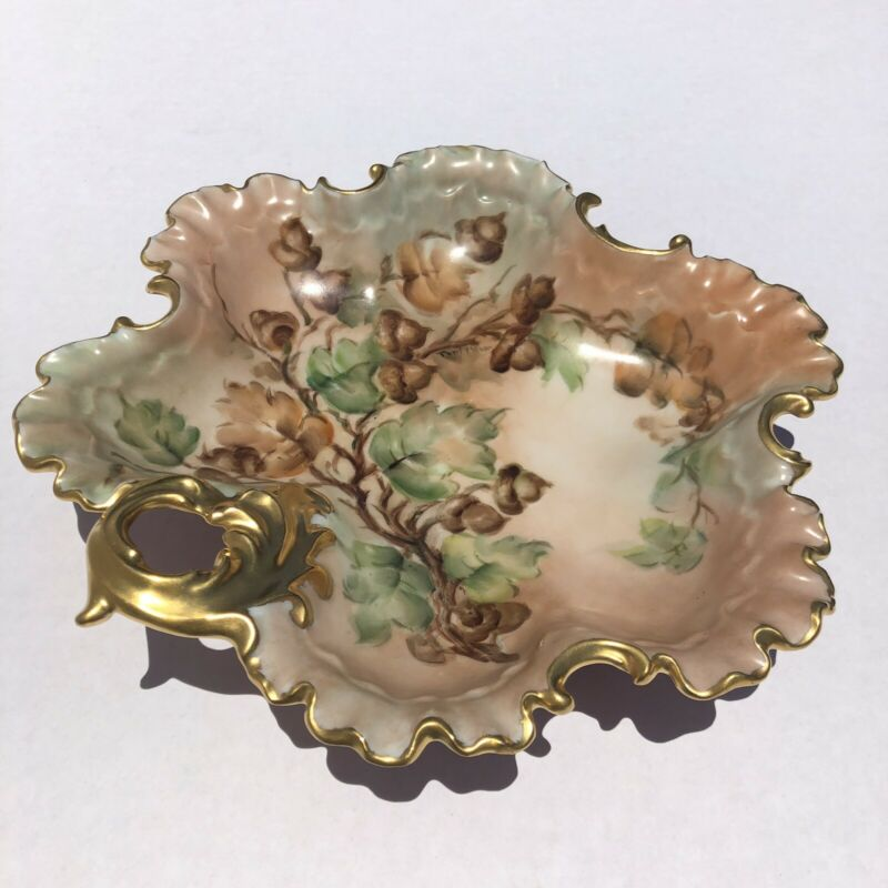 "Vintage Hand Painted & Signed Porcelain 8"" Trinket Bowl Gold Trim Acorn Branch"