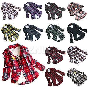 Fashion-Women-Campus-Plaid-Check-Flannel-Shirts-Button-Down-Tops-Blouse-Tee-6-14