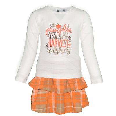 Girls Pumpkin Kisses Plaid Fall Boutique 2 Piece Skirt Set Outfit 2t 3t 4t 5 6 7 ()
