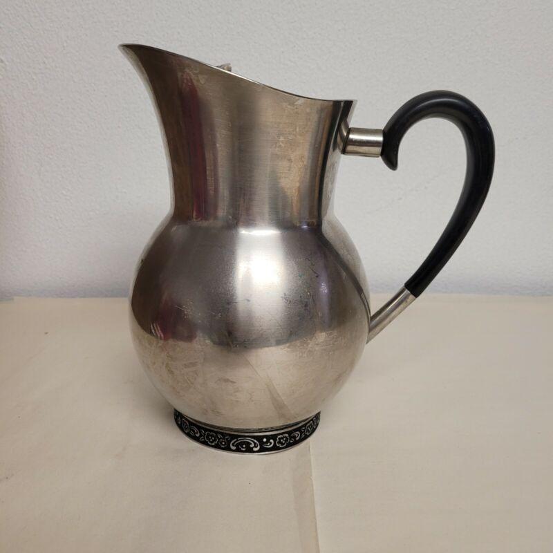 Vintage ONEIDA Custom 18/8 Stainless Steel Water Pitcher Carafe Made in Japan