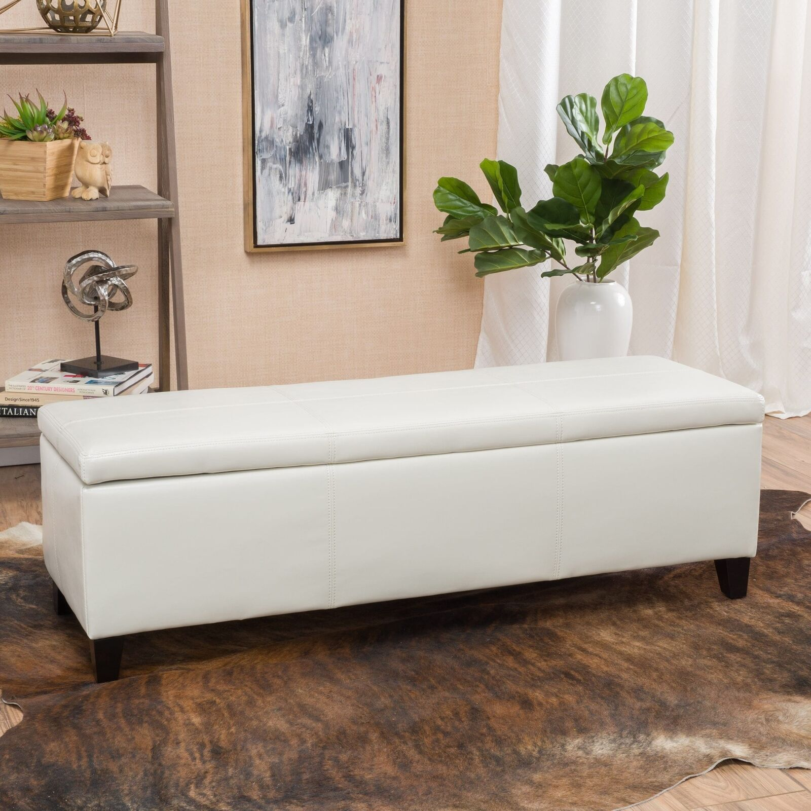 Off White Storage Bench Ottoman Faux Leather Chest Locking ...