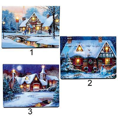 Christmas Scene Canvas Picture 40cm Free Standing LED Light up - Choose Design ()