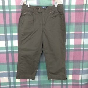 BandolinoBlu Petite Womens Brown Capri Cotton Blend Stretch Pants Sz 14P Cropped