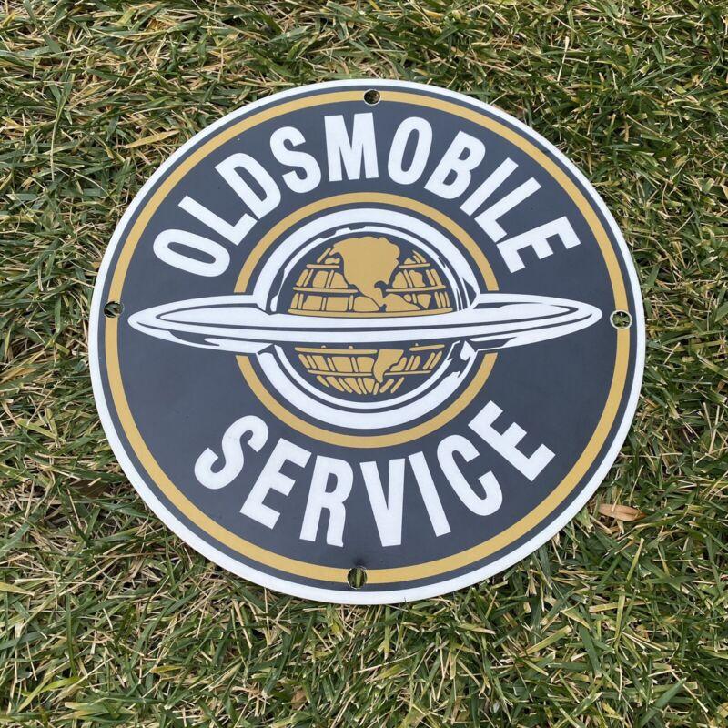 """VINTAGE OLDSMOBILE SERVICE 12""""  METAL GASOLINE & OIL DEALER SHOP PUSH AD SIGN!"""