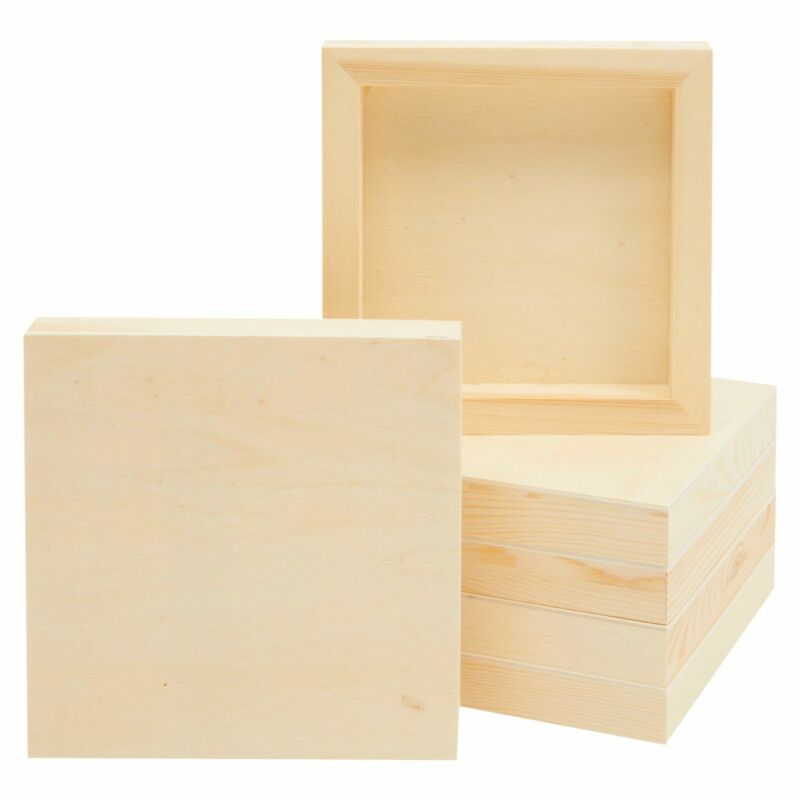 6 Pack Unfinished Wood Canvas Boards for Painting, DIY Crafts, 6x6 in