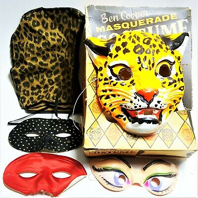 Vintage Ben Cooper Masquerade Halloween Leaping Leopard Box Extra Cat Hat Masks