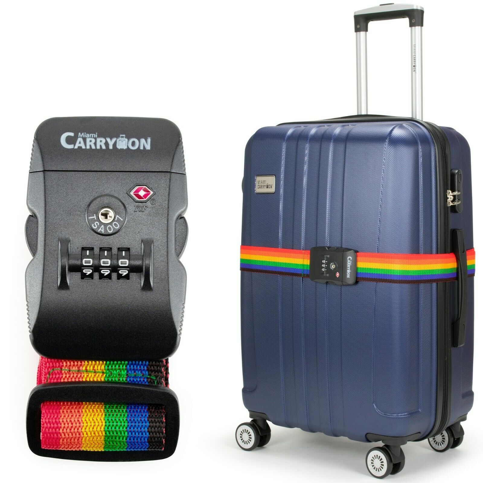 Miami CarryOn Adjustable Luggage Strap with a Built-in TSA Combination Lock Rainbow