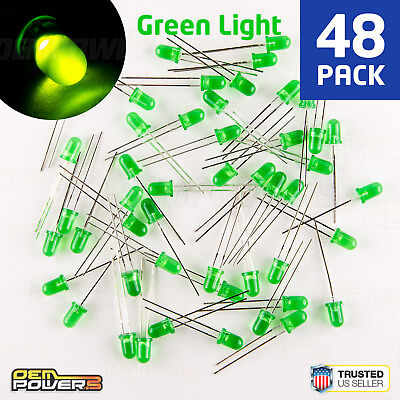 48 X Radioshack 5mm Green Diffused Led 2760022 Bulk Pack New