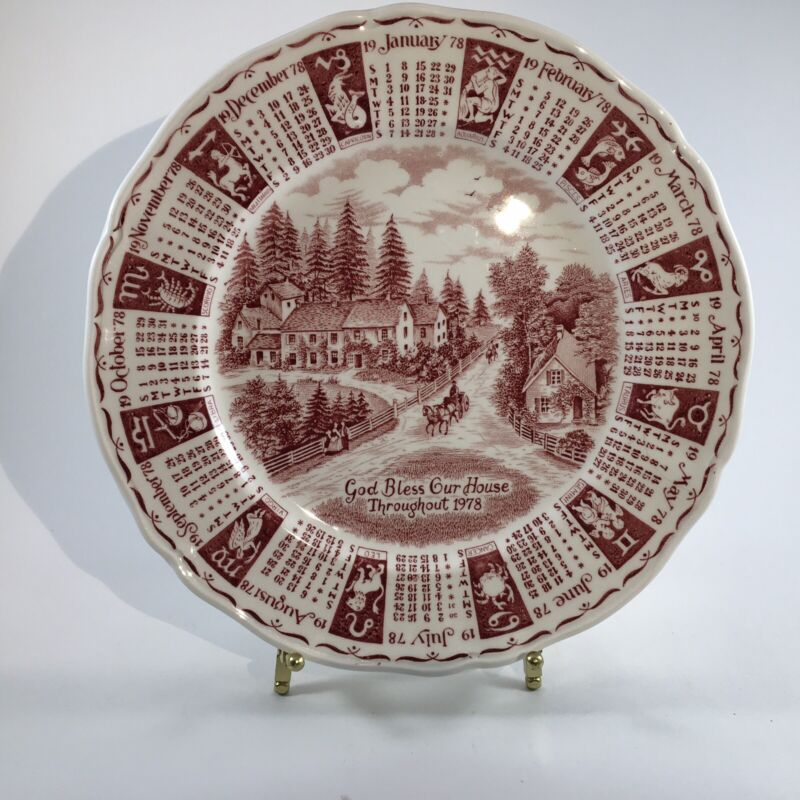 Alfred Meakin Calendar Plate-Red-God Bless Our House Throughout 1978