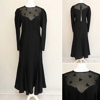 Wallis Vintage Maxi Dress 6 8 Long Sleeve Black Steampunk Victorian Goth Party