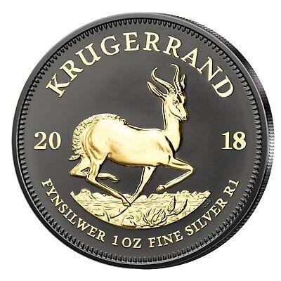 Südafrika 1oz 2018 Silber Krügerrand veredelt mit Schwarz-Ruthenium & 24 kt Gold