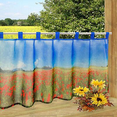 Moderne Blüte (Scheibengardine Blüten Mohn Blumen bedruckt 45x120cm Bistrogardine Kurzgardine)